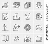business icon set. 16 universal ... | Shutterstock .eps vector #1627223194