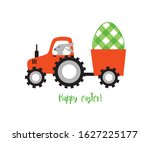 bunny farm tractor easter... | Shutterstock .eps vector #1627225177