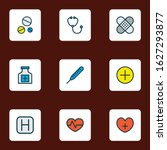 antibiotic icons colored line... | Shutterstock .eps vector #1627293877