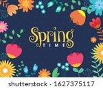 springtime text on blue... | Shutterstock .eps vector #1627375117