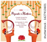 indian royal hindu wedding card ... | Shutterstock .eps vector #1627413601
