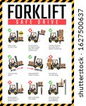 forklift safe drive poster ... | Shutterstock .eps vector #1627500637