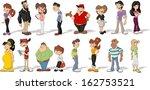 big group of happy cartoon...