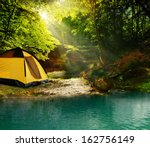 beautiful forest at noon... | Shutterstock . vector #162756149