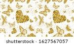 gold glittering butterflies and ... | Shutterstock .eps vector #1627567057