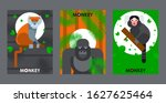 apes and monkeys in flat style... | Shutterstock .eps vector #1627625464