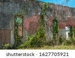 Remains Of A Brick Wall With...