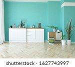 blue minimalist kitchen room... | Shutterstock . vector #1627743997