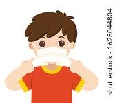 a cute boy wear medical mask.... | Shutterstock .eps vector #1628044804