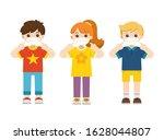 boy and girl wear medical mask. ... | Shutterstock .eps vector #1628044807