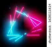 neon light triangles frame on... | Shutterstock . vector #1628111614