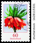Small photo of MOSCOW, RUSSIA - OCTOBER 7, 2019: Postage stamp printed in Germany shows Fritillaria imperialis - Kaiser's Crown, Flowers serie, circa 2013