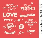 Valentines day illustrations and typography elements | Shutterstock vector #162814379