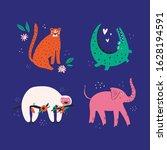 cute wild animals flat vector...   Shutterstock .eps vector #1628194591