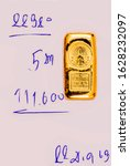 Small photo of Bangkok, Thailand - January 28, 2020: Hua Seng Heng 96.5% purity Gold bullion bars which is commonly referred to 23K. 5 Baht each bar, equivalent to 76.22 grams. Real Time buy-sell-online, Collection