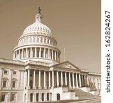 Stock photo washington dc capitol building detail us sephia 162824267