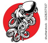 octopus tattoo black and red...   Shutterstock .eps vector #1628257537
