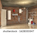 boiler system and laundry in a... | Shutterstock . vector #1628333347