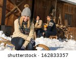 young woman with friends enjoy... | Shutterstock . vector #162833357