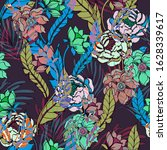 beautiful seamless floral... | Shutterstock . vector #1628339617