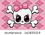 Cute girly skull with a pink bow, vector illustration. Seamless checkered background on separate layer.
