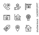 real estate icon set including...   Shutterstock .eps vector #1628391997