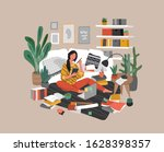 a girl is sitting on the floor... | Shutterstock .eps vector #1628398357