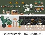 coffee shop or cafe interior...   Shutterstock .eps vector #1628398807