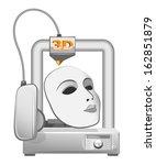 3d printer and white mask....   Shutterstock .eps vector #162851879