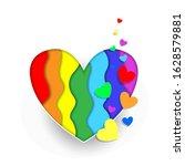 rainbow paper cut heart colors... | Shutterstock .eps vector #1628579881