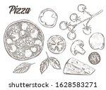 set of pizza ingredients. pizza ... | Shutterstock .eps vector #1628583271