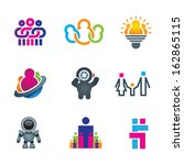 Different creative people interacting logo and creating fun and innovative ideas for future social community word of science icon set