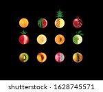 Colorful Round Fruit Icon Set