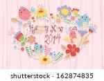 happy new year card.cartoon... | Shutterstock .eps vector #162874835