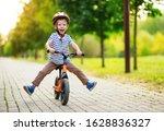Happy Child Boy Rides A...