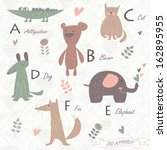 zoo alphabet with cute animals. ...   Shutterstock .eps vector #162895955