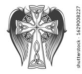 cross in celtic style with big... | Shutterstock .eps vector #1629008227