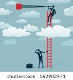 Abstract Businessman gets a better view. Great illustration of Retro styled Businessman climbing above the clouds to get a better view of the landscape than his competitors. - stock vector