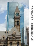 Stock photo clock tower of toronto s old city hall against modern building 16290712