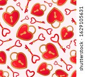 seamless pattern with heart... | Shutterstock .eps vector #1629105631