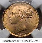 1871 Queen Victoria Gold Sovereign obverse