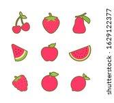 fruits pattern.cherry ... | Shutterstock .eps vector #1629122377