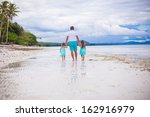 back view of father and his two ... | Shutterstock . vector #162916979
