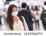 Virus mask asian woman travel...