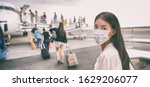 Airport Asian woman tourist boarding plane taking a flight in China wearing face mask. Coronavirus flu virus travel concept banner panorama.
