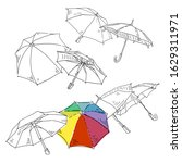 umbrella vector doodles set.... | Shutterstock .eps vector #1629311971
