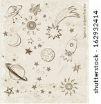 sketches of space objects  the... | Shutterstock .eps vector #162932414
