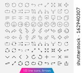 100 line icon set   arrows....