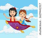 cartoon aladdin and jasmine... | Shutterstock .eps vector #1629441517
