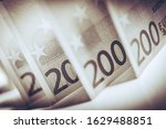 Euro Cash Elegant Concept Macro Photo. Two Hundred Bills Closeup. European Currency Theme. - stock photo